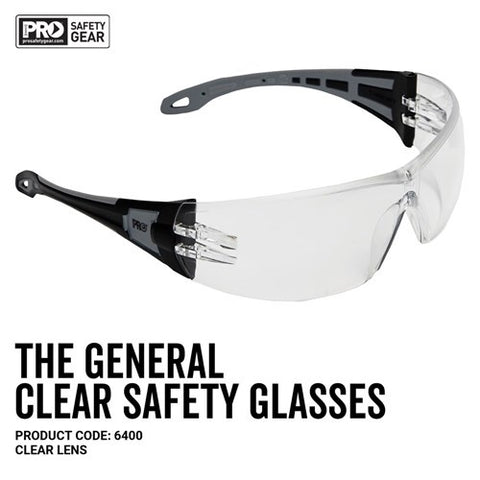 6400 PRO CHOICE THE GENERAL SAFETY GLASSES CLEAR - ON THE GO SAFETY & WORKWEAR