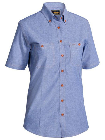 B71407L BISLEY LADIES CHAMBRAY SHIRT - SHORT SLEEVE - ON THE GO SAFETY & WORKWEAR