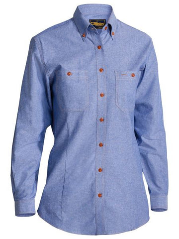B76407L BISLEY LADIES CHAMBRAY SHIRT - LONG SLEEVE - ON THE GO SAFETY & WORKWEAR