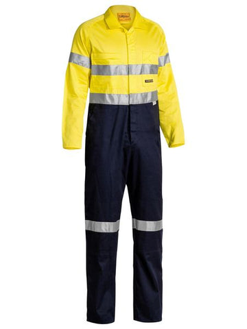 BC6719TW BISLEY 2 TONE HI VIS LIGHTWEIGHT COVERALLS 3M REFLECTIVE TAPE - ON THE GO SAFETY & WORKWEAR