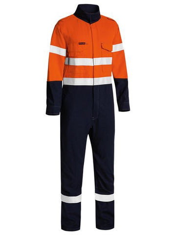BC8186T BISLEY TENCATE TECASAFE PLUS 580 TAPED TWO TONE HI VIS LIGHTWEIGHT FR NON VENTED ENGINEERED COVERALL - ON THE GO SAFETY & WORKWEAR