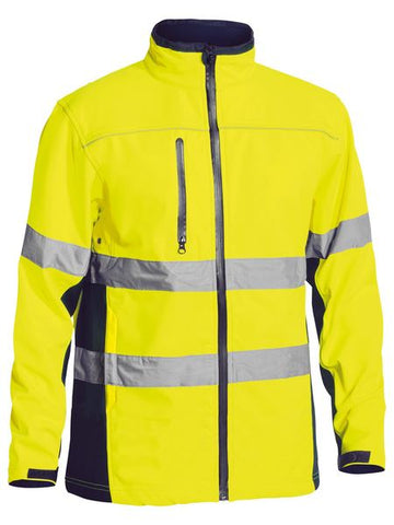 BJ6059T BISLEY HI-VIS TAPED SOFT SHELL JACKET - ON THE GO SAFETY & WORKWEAR