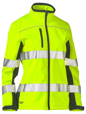BISLEY Ladies Taped Two Tone Hi Vis Soft Shell Jacket BJL6059T