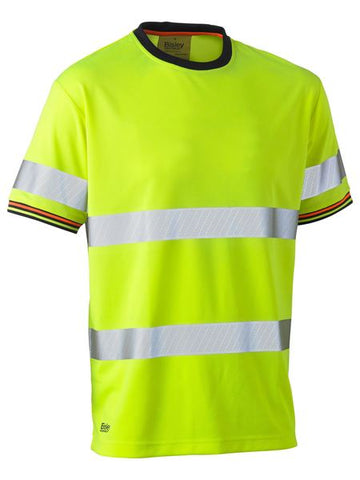 BK1220T BISLEY TAPED HI VIS POLYESTER MESH SHORT SLEEVE T-SHIRT - ON THE GO SAFETY & WORKWEAR
