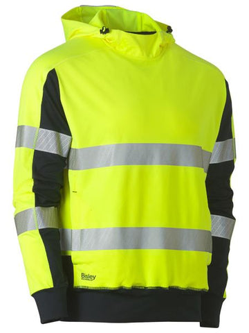 BK6815T BISLEY TAPED HI VIS STRETCHY FLEECE HOODIE - ON THE GO SAFETY & WORKWEAR