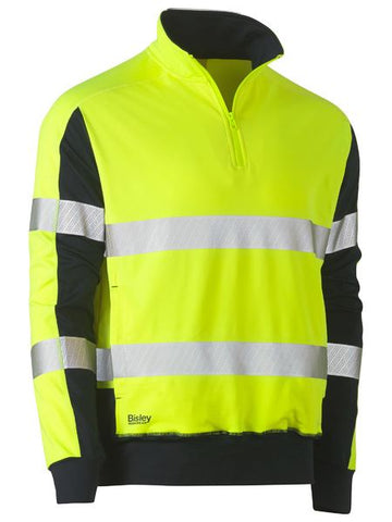 BK6817T BISLEY TAPED HI VIS 1/4 ZIP STRETCHY FLEECE ZIP PULLOVER - ON THE GO SAFETY & WORKWEAR