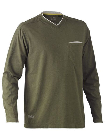 BK6933 BISLEY FLEX & MOVE COTTON RICH V NECK LONG SLEEVE TEE - ON THE GO SAFETY & WORKWEAR