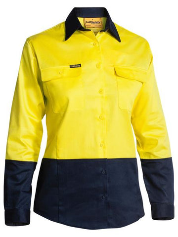 BL6267 BISLEY LADIES 2 TONE HI VIS DRILL SHIRT - LONG SLEEVE - ON THE GO SAFETY & WORKWEAR