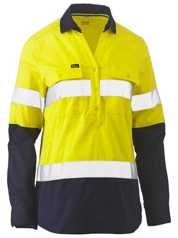 BISLEY Ladies Taped Hi Vis Stretch V-Neck Shirt BLC6064T