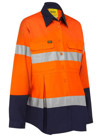 BLM6456T BISLEY LADIES 3M TAPED HI VIS MATERNITY DRILL SHIRT - LONG SLEEVE - ON THE GO SAFETY & WORKWEAR