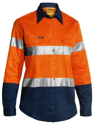 BLT6456 BISLEY LADIES 2 TONE HI VIS DRILL SHIRT 3M REFLECTIVE TAPE - LONG SLEEVE - ON THE GO SAFETY & WORKWEAR