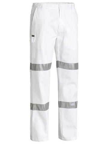 BP6808T BISLEY 3M TAPED COTTON DRILL WHITE WORK PANT - ON THE GO SAFETY & WORKWEAR