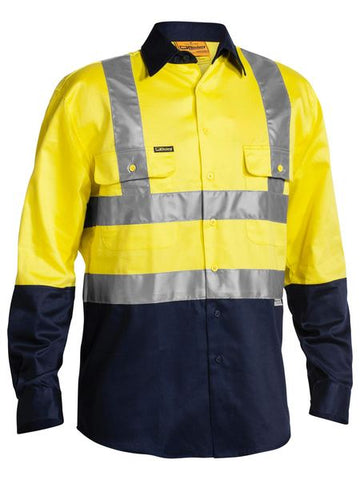 BISLEY 2 Tone Hi Vis Drill Shirt 3M Reflective Tape - Long Sleeve BS6267T
