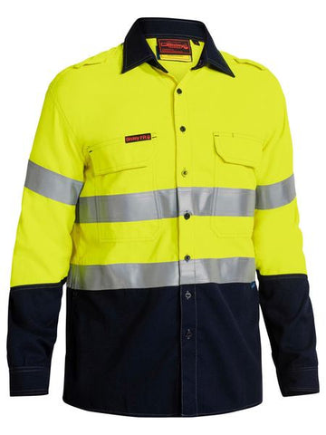 BISLEY Tencate Tecasafe Plus 580 Taped Two Tone Hi Vis Lightweight FR Vented Long Sleeve Shirt BS8098T
