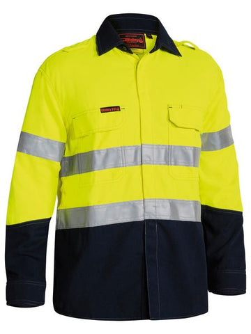 BISLEY Tencate Tecasafe Plus Taped Two Tone Hi Vis FR Non Vented Shirt - Long Sleeve BS8198T
