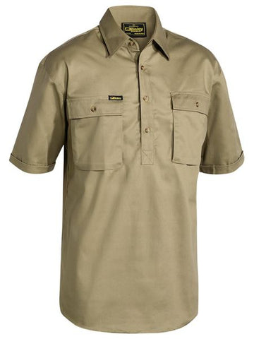BISLEY Closed Front Cotton Drill Shirt - Short Sleeve BSC1433