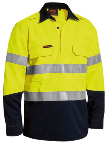 BISLEY Tencate Tecasafe Plus Taped Two Tone Hi Vis Closed Front Vented Shirt - Long Sleeve BSC8075T