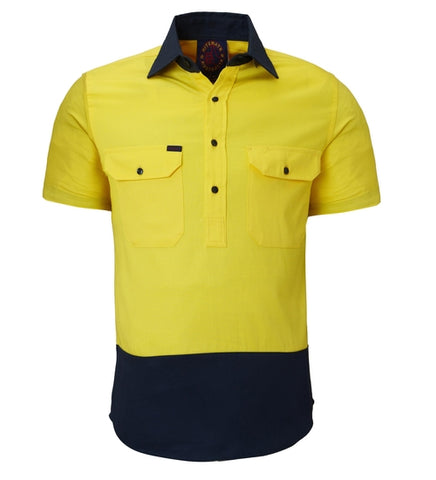 Ritemate Closed Front Short Sleeve 2-Tone Shirt RM105CFS
