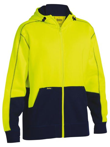 BK6819 BISLEY HI VIS ZIP FLEECE HOODIE - ON THE GO SAFETY & WORKWEAR