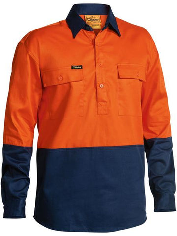 BISLEY Two Tone Hi-Vis Closed Front Long Sleeve Drill Shirt BSC6267