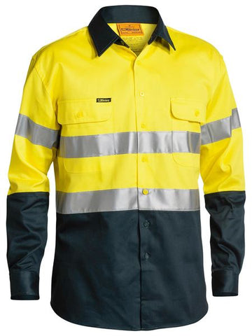 BT6456 BISLEY TWO TONE TAPED HI-VIS LONG SLEEVE SHIRT