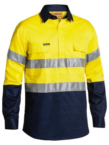 BTC6456 BISLEY 2 TONE CLOSED FRONT HI VIS DRILL SHIRT 3M REFLECTIVE TAPE - LONG SLEEVE