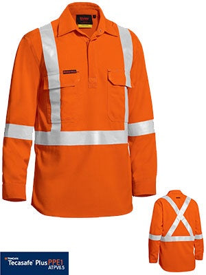BISLEY Tencate Tecasafe Plus Taped Hi Vis Closed Front Lightweight FR Shirt - Long Sleeve BSC8176T