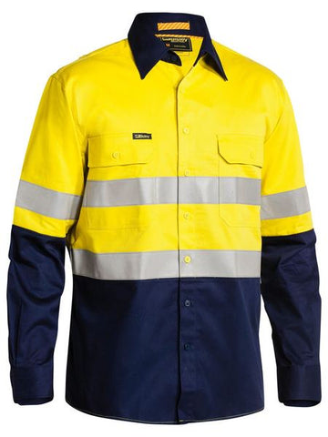 BISLEY 3M Taped 2 Tone Hi Vis Mens Industrial Cool Vent Shirt BS6448T