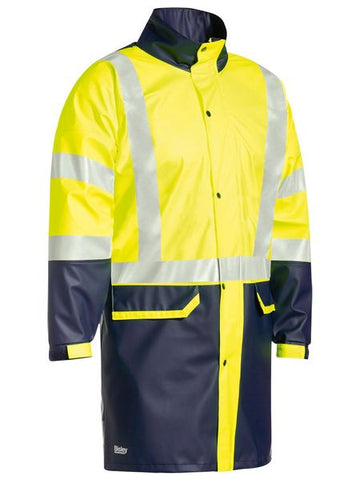BJ6935HT BISLEY TAPED TWO TONE HI VIS STRETCH PU RAIN COAT - ON THE GO SAFETY & WORKWEAR