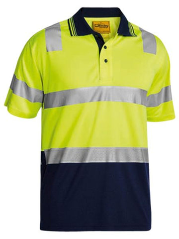 BK1258T BISLEY 3M TAPED HI VIS TWO TONE MICROMESH POLO SHIRT - SHORT SLEEVE - ON THE GO SAFETY & WORKWEAR