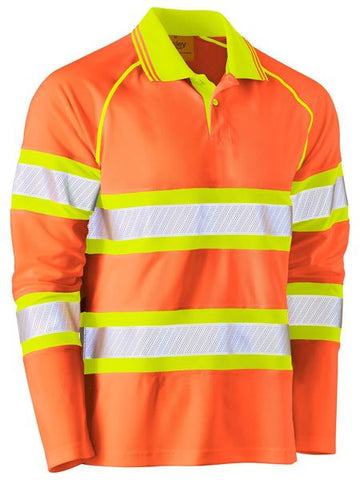 BK6223T BISLEY TAPE DOUBLE HI VIS MESH POLO SHIRT - LONG SLEEVE - ON THE GO SAFETY & WORKWEAR