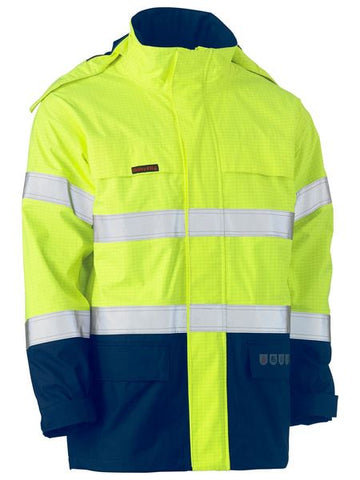 BJ8110T BISLEY TAPED TWO TONE HI VIS FR WET WEATHER SHELL JACKET - ON THE GO SAFETY & WORKWEAR