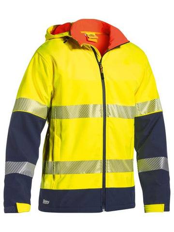 BJ6934T BISLEY TAPED TWO TONE HI VIS RIPSTOP SOFTSHELL JACKET - ON THE GO SAFETY & WORKWEAR