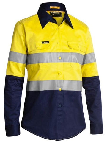 BL6448T BISLEY LADIES 3M TAPED 2 TONE HI VIS INDUSTRIAL COOL VENT SHIRT - LONG SLEEVE - ON THE GO SAFETY & WORKWEAR