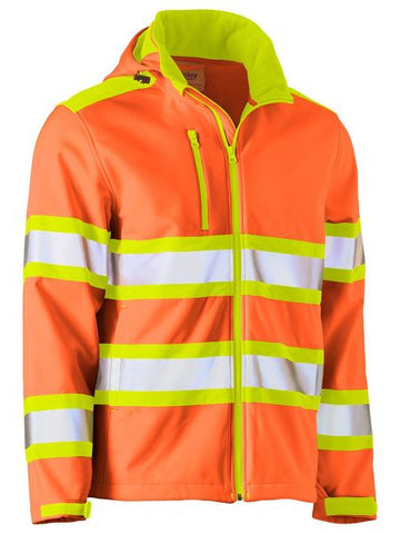 BJ6222T BISLEY TAPED DOUBLE HI VIS SOFTSHELL JACKET - ON THE GO SAFETY & WORKWEAR