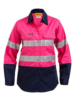 BL6896 BISLEY LADIES M TAPED TWO TONE HI VIS COOL LIGHTWEIGHT SHIRT - LONG SLEEVE - ON THE GO SAFETY & WORKWEAR