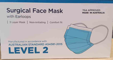 Face Mask With Ear Loops - Level 2 - 50 Box AUSTRALIAN MADE
