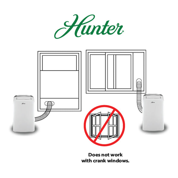 Hunter HPAC-08C150 8,000 BTU Portable Air Conditioner Sliding Windows
