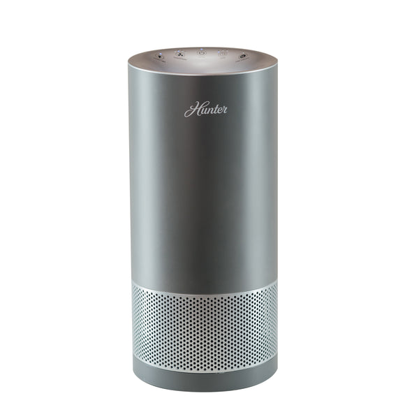 Hunter HP400 Cylindrical Tower Air Purifier, Gray and Silver