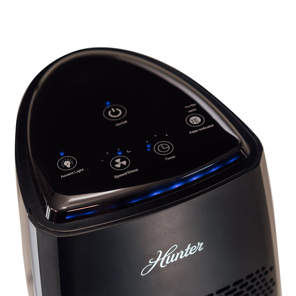 Hunter HP600 Tall Tower Air Purifier, Black, Control Panel
