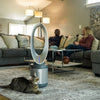 Hunter HPF500 ExtremeAir Tower Bladeless Air Purifier Fan, Family in Living Room w Cat, Grey