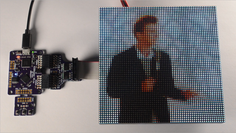 RGB LED Panel, 64x64 pixels, 2mm pitch, 128x128mm