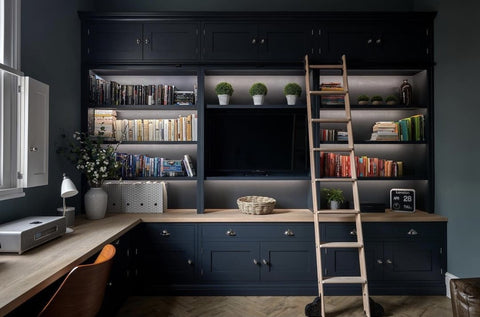 Office scheme by Will Mundy Carpentry using a rolling library ladder