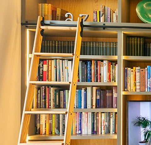 A quiet corner with a library ladder from the Library Ladder Company