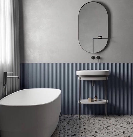 wall panel No. 109 valleys used in a bathroom scheme