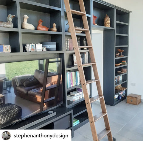 Shelving unit and library ladder designed by Stephen Anthony Design