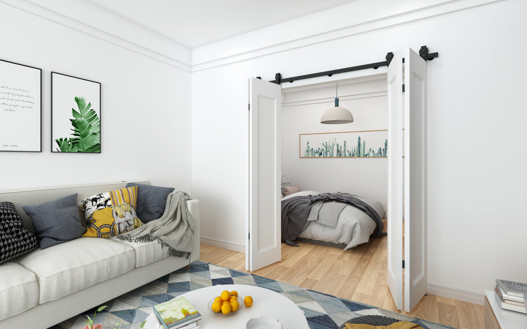 Bi-folding Double Sliding Barn Door Kit (top mount)