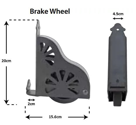 Bottom wheeled foot with safety brakes