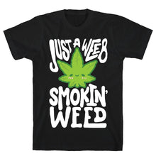 Load image into Gallery viewer, Just A Weeb Smokin' Weed Black Unisex Cotton Tee by LookHUMAN