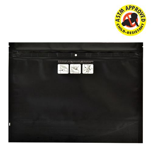 Mylar Bag DymaPak Black Child Resistant Exit Bag - Opaque 12